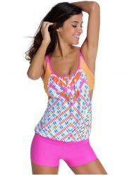 Chic Women's Print Top + Boxers Two Piece Swimwear