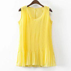 Round Neck Pleated Chiffon Tank Top