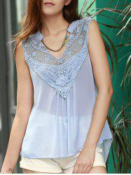 Lace Trim Chiffon Flowy Tank Top - LIGHT BLUE S