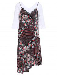 Chic 3/4 Sleeve White T-Shirt + Spaghetti Strap Printed Asymmetrical Dress Women's Twinset -