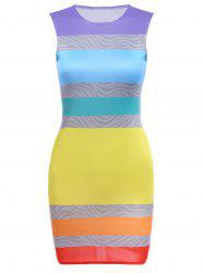 Round Collar Sleeveless Colorful Bodycon Bandage Dress - COLORFUL S