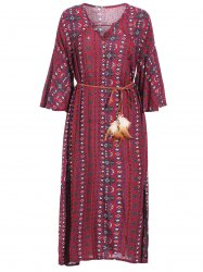 Retro Style V-Neck 3/4 Sleeve Geometric Print Loose-Fitting Women's Dress -