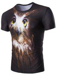 Hot Sale 3D Night Owl Print Round Neck Short Sleeves T-Shirt For Men -