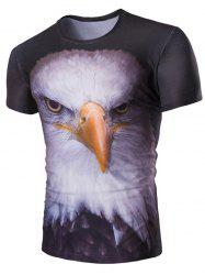 Stereoscopic Night Owl Print Round Neck Short Sleeves T-Shirt For Men - COLORMIX L