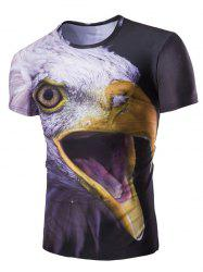 3D Night Owl Print Round Neck Short Sleeves T-Shirt For Men