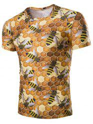 Casual Hexagon Printed Short Sleeves Men's T-Shirt