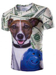 Casual Dog Printed Short Sleeves Men's T-Shirt - COLORMIX M