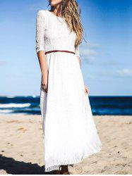 Solid Color 3/4 Sleeve Hollow Out Maxi Dress For Women -