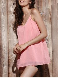 Casual V Neck Pure Color Chiffon Laciness Tank Top For Women