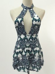 Mini Cut Out Print Halter Open Back Dress
