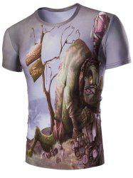 3D Abstract Letter Print Round Neck Short Sleeves T-Shirt For Men