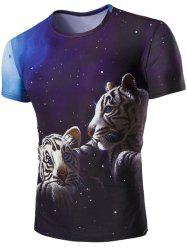 3D Tiger and Sky Print Round Neck Short Sleeves T-Shirt For Men - COLORMIX