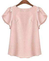 Plus Size Stylish Round Neck Short Ruffled Sleeve Pure Color Women's Shirt - SHALLOW PINK XL