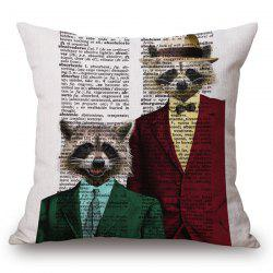 Stylish Animals Mr. Raccoon Portrait Pattern Square Shape Pillowcase (Without Pillow Inner) -