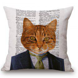 Stylish Animals Mr. Cat Portrait Pattern Square Shape Pillowcase (Without Pillow Inner) -