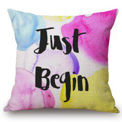 Letters Watercolor Painting Pattern Square Shape Pillowcase (Without Pillow Inner) -