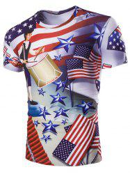 Casual Stars Printed Short Sleeves Men's T-Shirt - COLORMIX