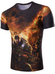 3D Soldier and Fire Print Round Neck Short Sleeves T-Shirt For Men