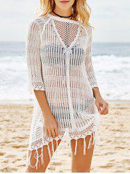 Scoop Neck Crochet See Through Fringe Cover Up -