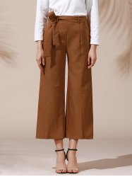 Trendy Mid Waist Solid Color Self Tie Belt Loose Ankle Length Pants For Women -