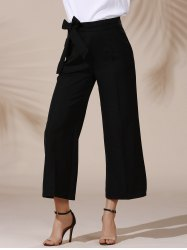 Trendy Mid Waist Solid Color Self Tie Belt Loose Ankle Length Pants For Women - BLACK