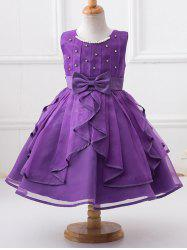 Cute Beaded Round Neck Sleeveless Ball Gown Girl's Dress