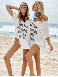 Letter Print Graphic Tunic Cover Up Dress - WHITE