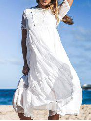 Bohemian Jewel Neck Short Sleeves Maxi Dress For Women