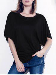 Stylish Boat Neck Short Sleeve Solid Color T-Shirt For Women
