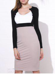 Sexy Color Block Long Sleeve Bodycon Midi Dress For Women -