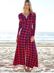 Alluring Plunging Neck 3/4 Sleeve Houndstooth High Slit Women's Dress
