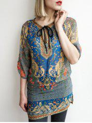 Bohemian V-Neck 3/4 Sleeve Printed Lace-Up Women's Dress - BLUE