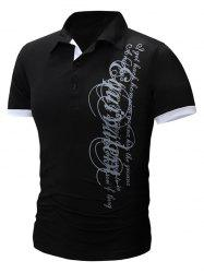 Trendy Turn-Down Collar Letter Print Men's Short Sleeve Polo T-Shirt -