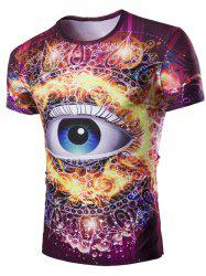 3D Abstract Eye Print Round Neck Galaxy T-Shirt