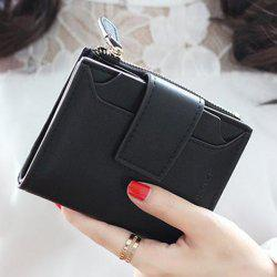 Concise Solid Color and Hasp Design Small Wallet For Women -