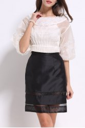 Boat Neck Beaded Flower Blouse and Skirt Twinset -