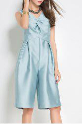V Neck Ruched Solid Color Midi Jumpsuit -