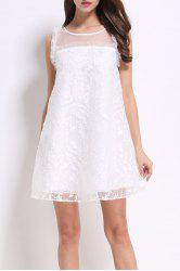Round Collar Embroidered Voile Dress -