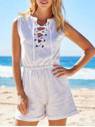 Active V-Neck Sleeveless Lace-Up Women's Playsuit -