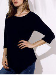 Round Collar 3/4 Sleeve Plain Irregular T-Shirt