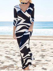 Printed High Waist Maxi Bodycon Plunge Prom Dress With Sleeves - WHITE AND BLACK