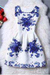 Trendy Sleeveless Blue Rose Print Women's Dress -