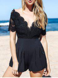 Stylish Plunging Neck Short Sleeve Lace Spliced Open Back Women's Playsuit -