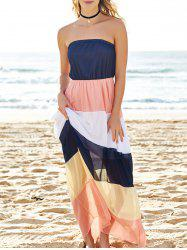 Color Block Strapless Chiffon Swing Beach Dress - COLORMIX