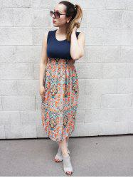 Lady Vintage Sleeveless Bohemian High Waist Long Dress - ORANGE