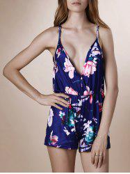 Women's Stylish Plunging Neck Floral Print Romper - COLORMIX