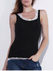 Attractive Lace Spliced Low-Cut Bodycon Tank Top For Women - BLACK XL