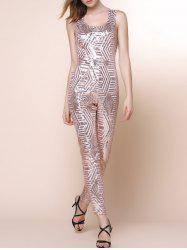 U Neck Sleeveless Geometric Sequins Jumpsuit