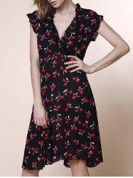 Graceful V-Neck Sleeveless Chiffon Tiny Cherry Print Dress For Women