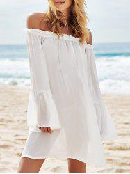 Off The Shoulder See-Through Flowy Cover-Up Dress With Sleeves